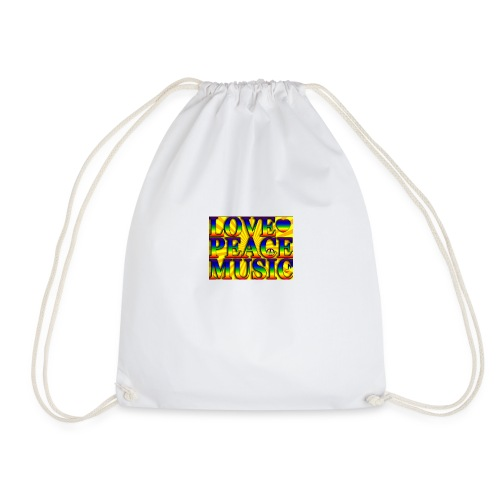 Love Peace and Music - Drawstring Bag