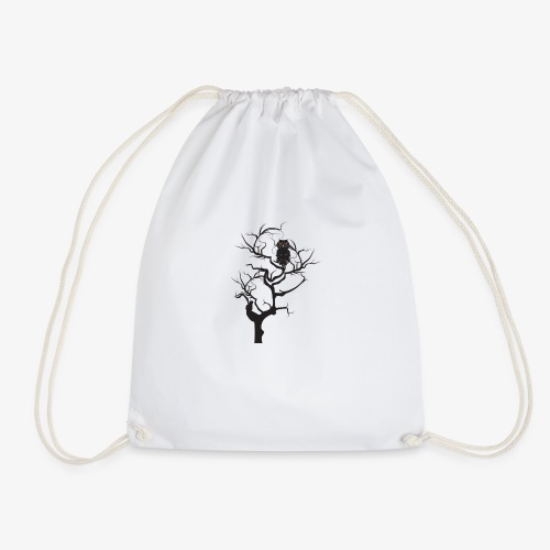 Black owl in the tree - Drawstring Bag
