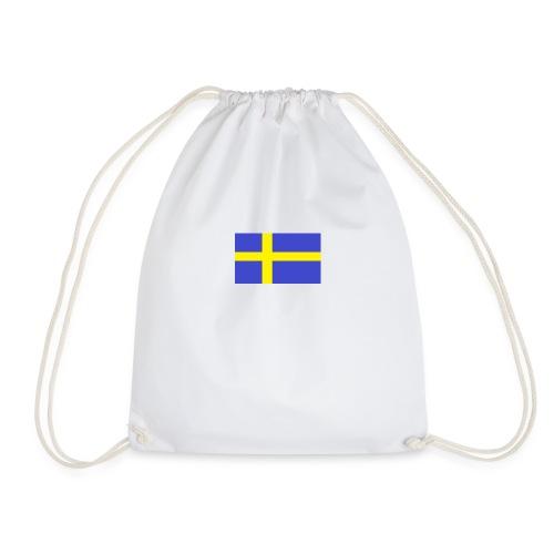 sverigeflaggahemmagjord png - Drawstring Bag