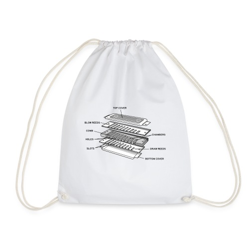 Exploded harmonica - black text - Drawstring Bag
