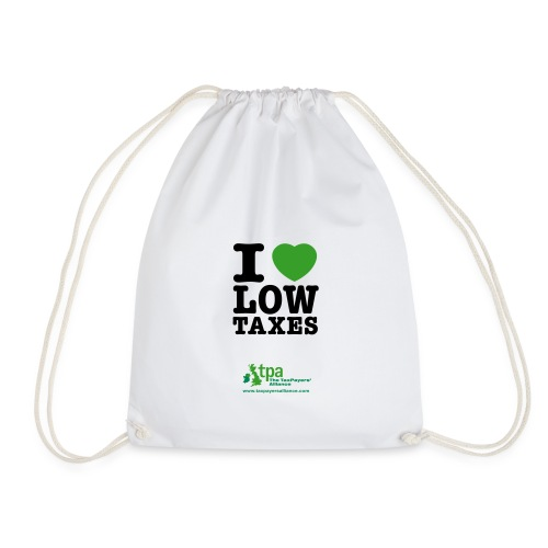 i love low taxes cmyk 2 spots 2 - Drawstring Bag