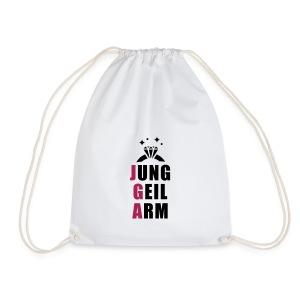 jung, geil arm - JGA T-Shirt - JGA Shirt - Party - Turnbeutel