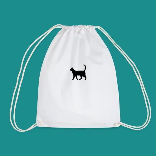 Black cat silhouette - Drawstring Bag