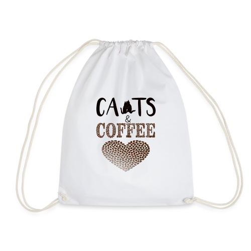 Katzen und Kaffee Schwarze Schrift - Turnbeutel