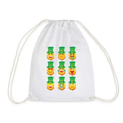 Awesome Leprechaun Emoji St. Patty's Green Feast B - Drawstring Bag