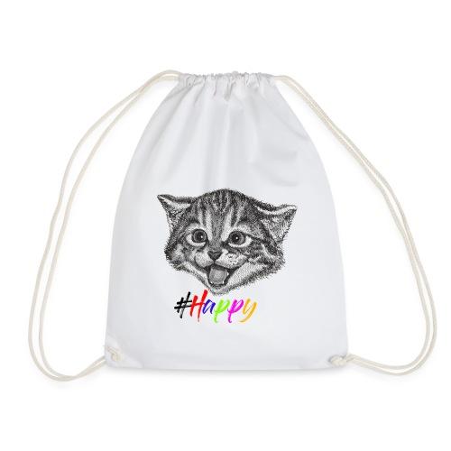 Glückliche Katze, Happy Cat - Turnbeutel