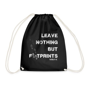 Leave Nothing But Footprints in White - Drawstring Bag