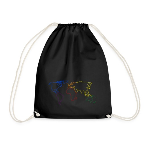 Rainbow Map of the World - Drawstring Bag
