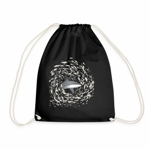 Shark and school of fish - Drawstring Bag