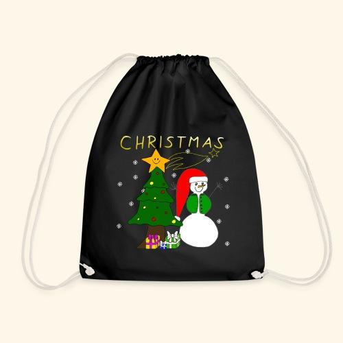 Christmas, Weihnachten, Schneemann, Weihnachtsbaum - Turnbeutel