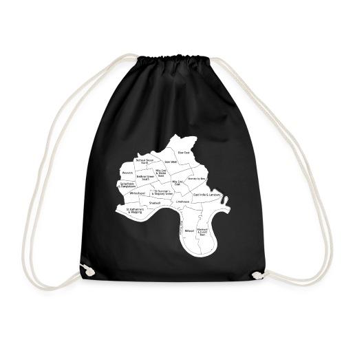 Power Hamlets borough map black on white - Drawstring Bag