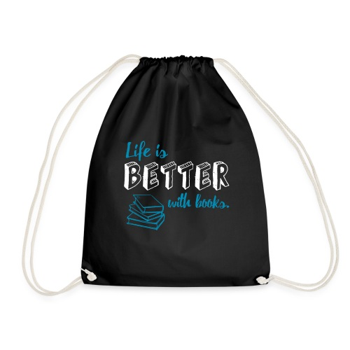0229 Life is better with books | Read - Drawstring Bag
