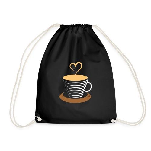 0252 Coffee   Love   Heart   Cup   coffee pot - Drawstring Bag