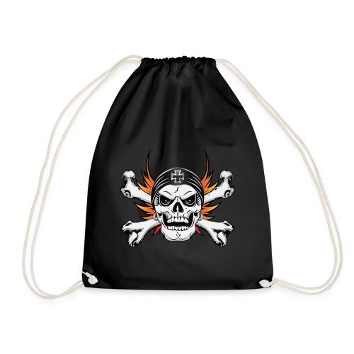 Skull Crossbones with Flaming Wings - Drawstring Bag