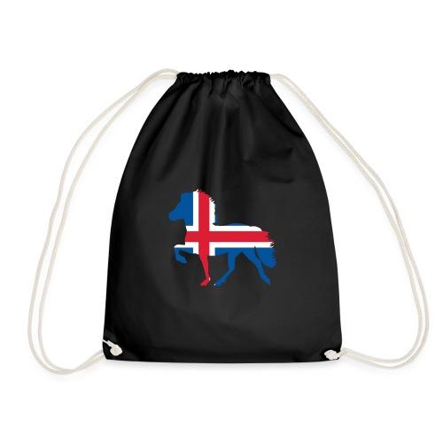 Island Pferd mit Flagge - Turnbeutel