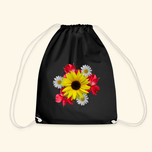 Blumenstrauß, Sonnenblume, Margeriten, rote Blumen - Turnbeutel