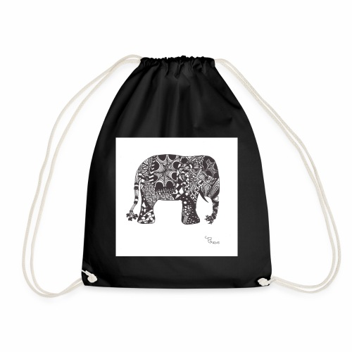 tangle-elephant print - Turnbeutel