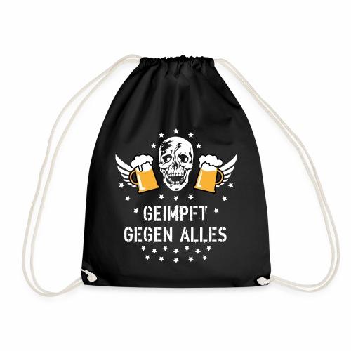 126 Totenkopf Mass Bier Geimpft gegen alles - Turnbeutel