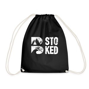 bstoked logo white - Drawstring Bag