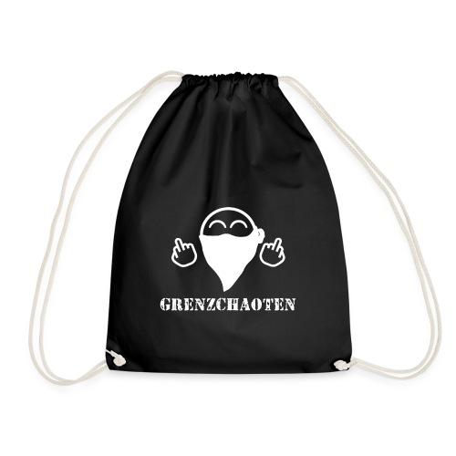 Grenzchaoten Logo Weiß - Turnbeutel
