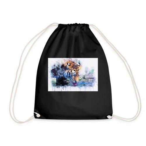 tiger drinking water - Drawstring Bag