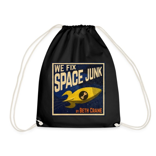 We Fix Space Junk logo (square) - Drawstring Bag