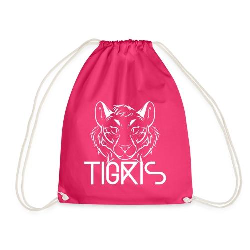 Tigris Logo Picture Text White - Drawstring Bag