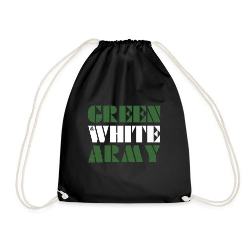 GREEN & WHITE ARMY _STENCIL_3 - Drawstring Bag