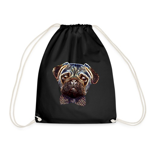 Pug with bow tie - Drawstring Bag