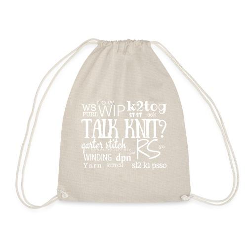 Talk Knit ?, white - Drawstring Bag