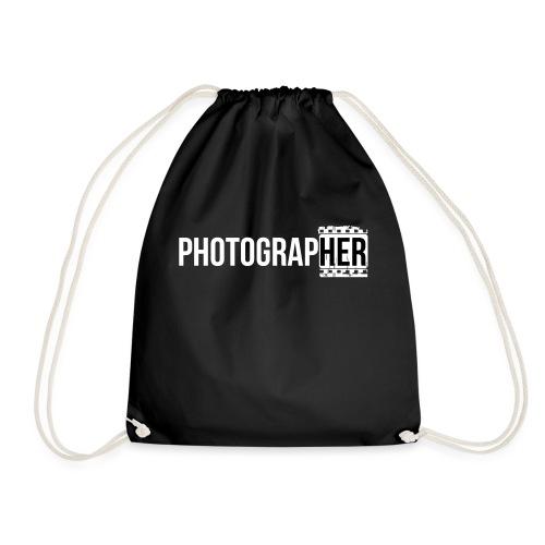Photographing-her - Drawstring Bag