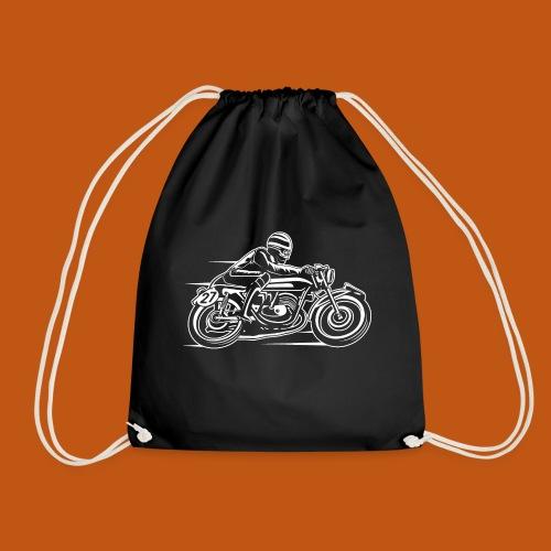 Cafe Racer Motorrad 03_weiß - Turnbeutel