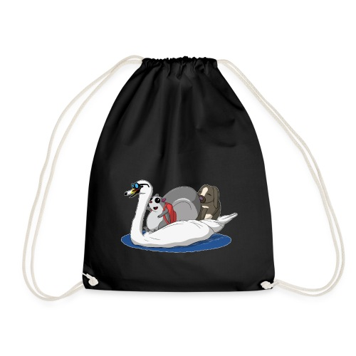 The Pudgy Squirrel - Swan - Drawstring Bag
