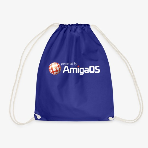 PoweredByAmigaOS white - Drawstring Bag