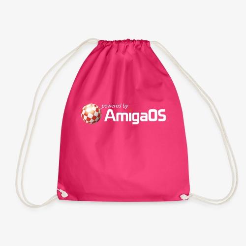 PoweredByAmigaOS white - Drawstring Bag