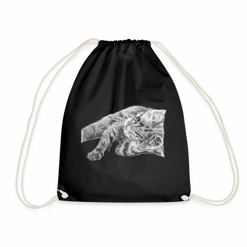 Small kitten in gray pencil - Drawstring Bag