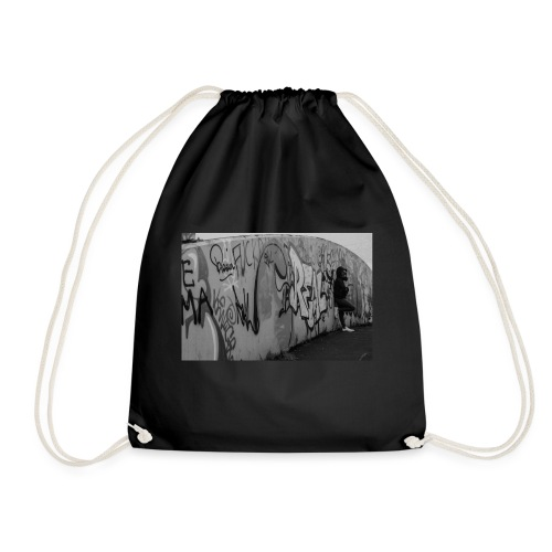 Real - Black and White graffiti bridge - Drawstring Bag