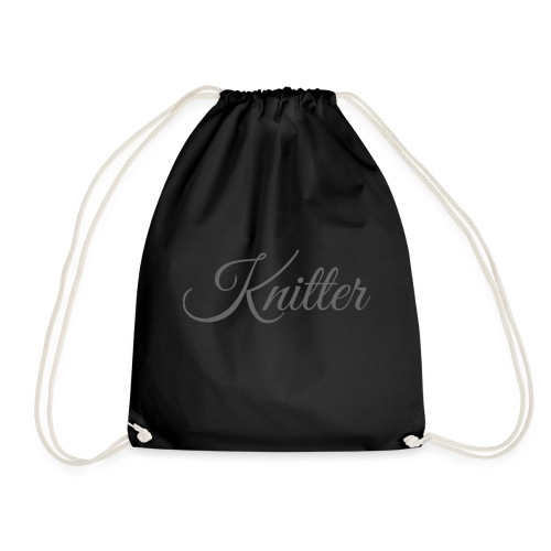 Knitter, dark gray - Drawstring Bag
