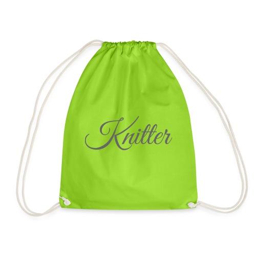 Knitter, dark gray - Drawstring Bag