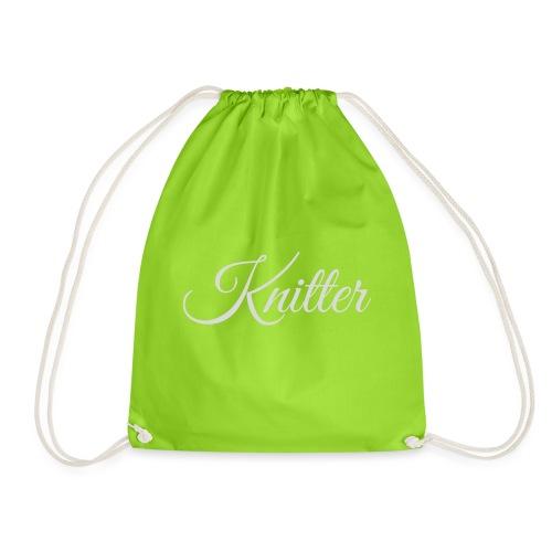 Knitter, light gray - Drawstring Bag