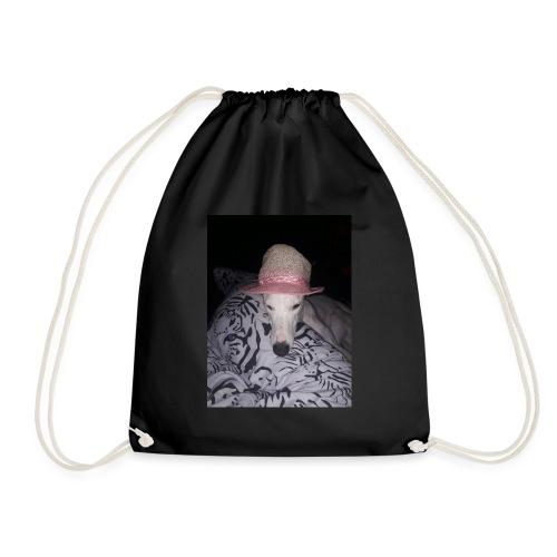 posing lurcher - Drawstring Bag