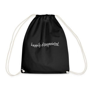 happily disappointed white - Drawstring Bag