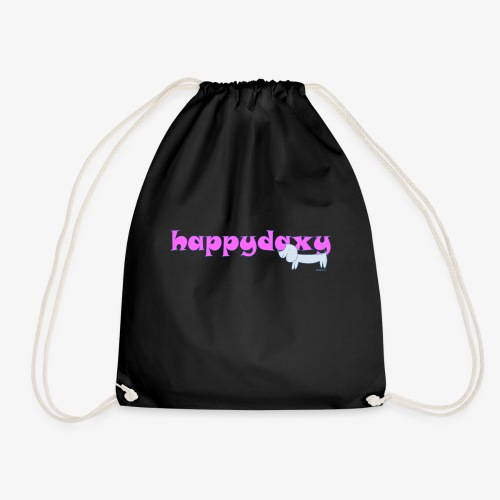 Happy Daxy Pink by Sue Anderson - Drawstring Bag