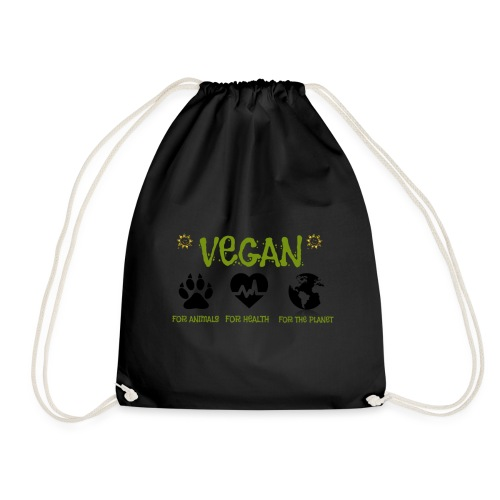 Vegan for animals, health and the environment. - Drawstring Bag