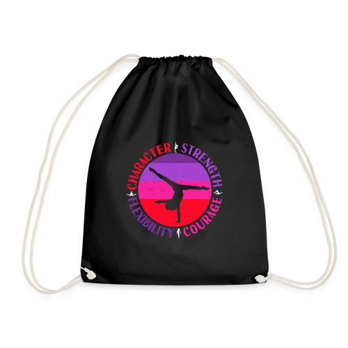 Girls Gymnastics Quote - Character Strength and - Drawstring Bag