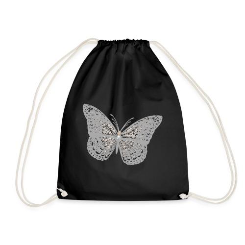 Süßer Schmetterling mit filigranen Totenköpfen - Turnbeutel