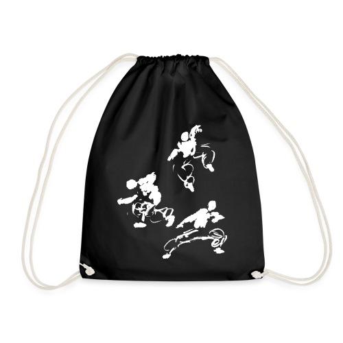 Kung fu circle / ink fighter in motion - Drawstring Bag