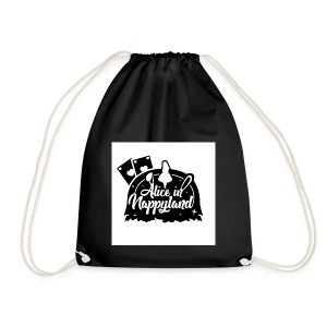 Alice in Nappyland TypographyWhite with background - Drawstring Bag