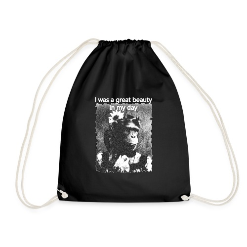 Funny Chimpanzee Old Age Joke Design - Drawstring Bag
