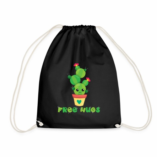 FREE HUGS - Kakteen Comic Kaktus Geschenk Shirts - Turnbeutel